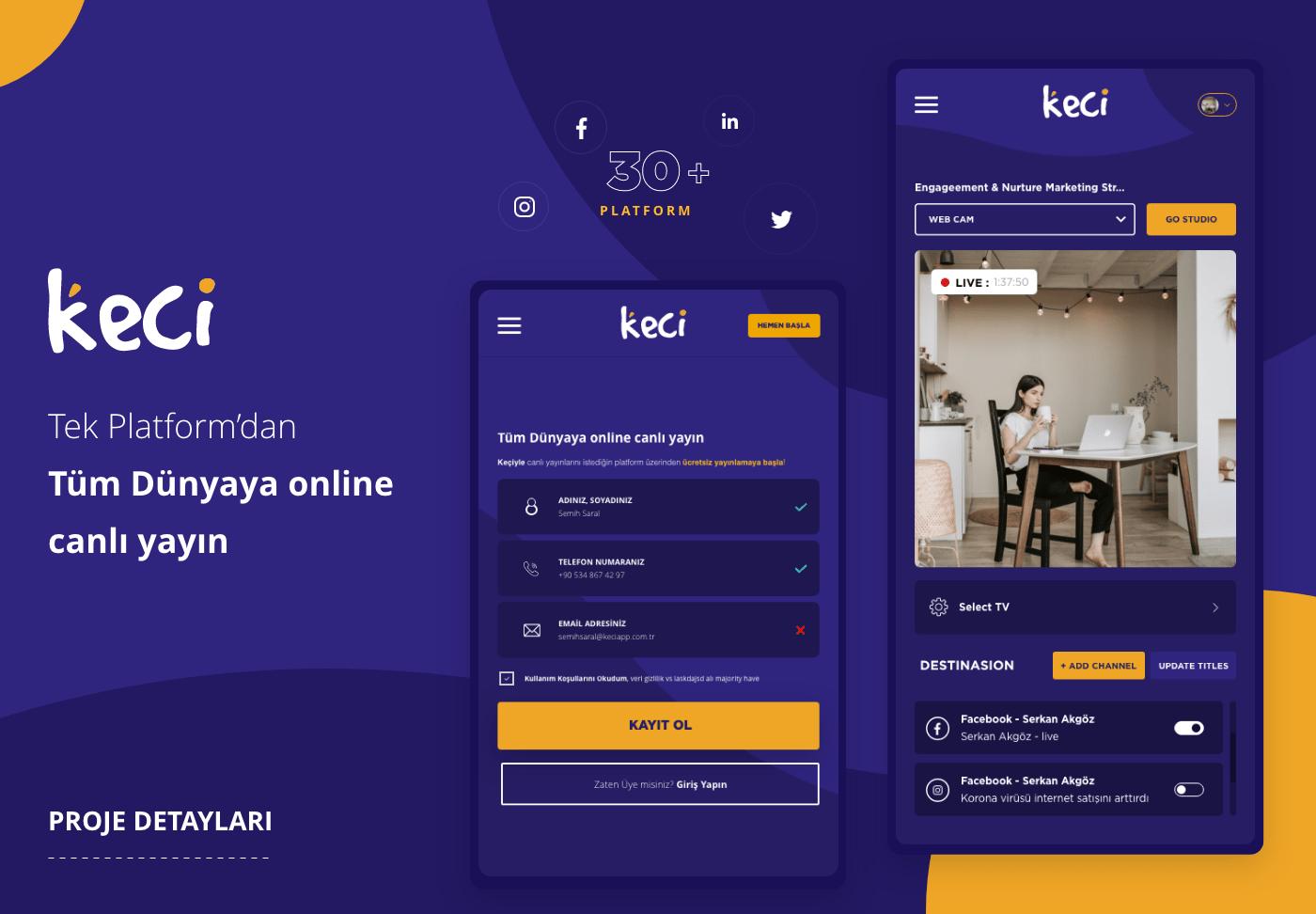 Keçi Canlı Yayın Startup Projesi UI & UX Web Tasarımı
